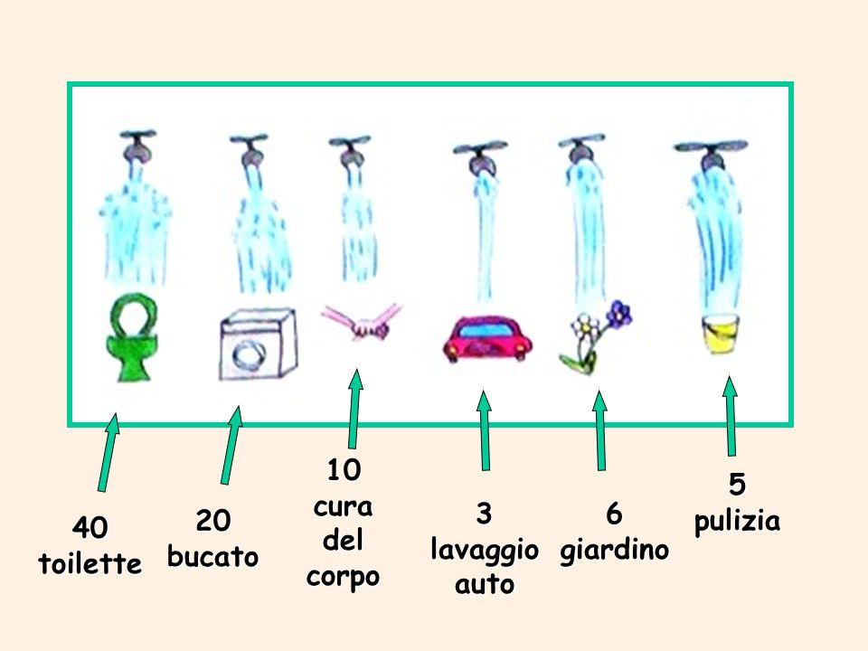 40 toilette 20 bucato 10 cura del corpo 3 lavaggio auto 6 giardino 5 pulizia