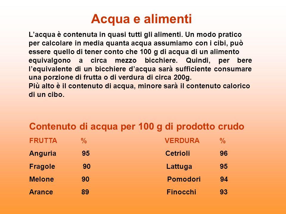 Lacqua è contenuta in quasi tutti gli alimenti. Un modo pratico per calcolare in media quanta acqua assumiamo con i cibi, può essere quello di tener c