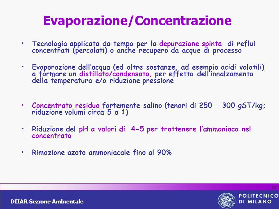DIIAR Sezione Ambientale 15 Evaporazione/Concentrazione Tecnologia applicata da tempo per la depurazione spinta di reflui concentrati (percolati) o an