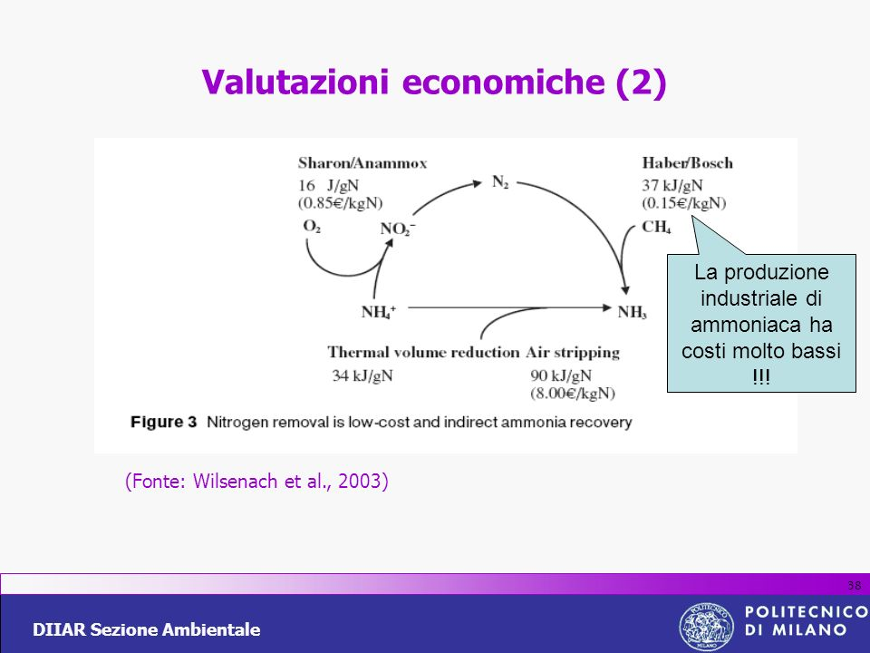 DIIAR Sezione Ambientale 38 Valutazioni economiche (2) (Fonte: Wilsenach et al., 2003) La produzione industriale di ammoniaca ha costi molto bassi !!!