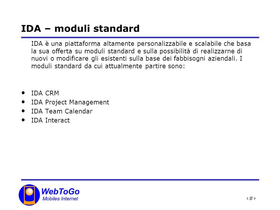 10 IDA – moduli standard IDA è una piattaforma altamente personalizzabile e scalabile che basa la sua offerta su moduli standard e sulla possibilità di realizzarne di nuovi o modificare gli esistenti sulla base dei fabbisogni aziendali.