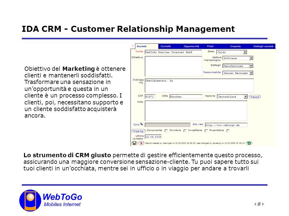 11 IDA CRM - Customer Relationship Management Lo strumento di CRM giusto permette di gestire efficientemente questo processo, assicurando una maggiore conversione sensazione-cliente.