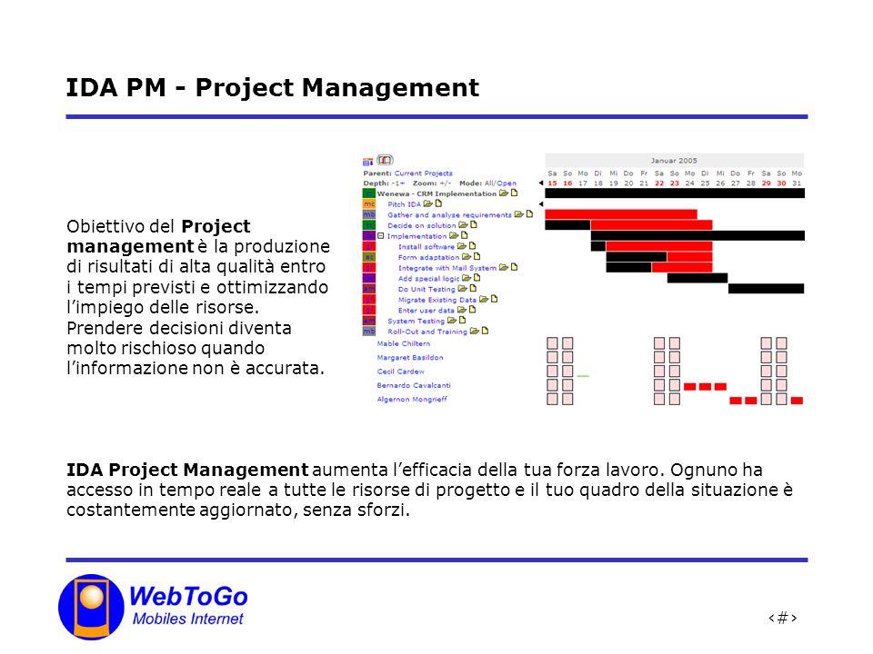 13 IDA PM - Project Management Obiettivo del Project management è la produzione di risultati di alta qualità entro i tempi previsti e ottimizzando limpiego delle risorse.