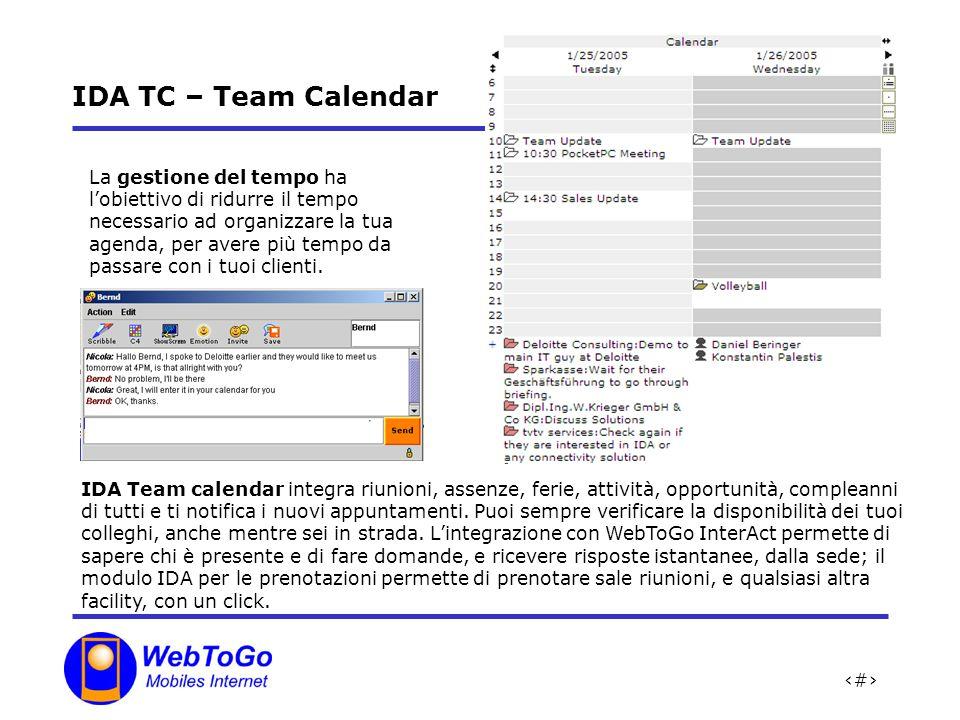 15 IDA TC – Team Calendar La gestione del tempo ha lobiettivo di ridurre il tempo necessario ad organizzare la tua agenda, per avere più tempo da passare con i tuoi clienti.