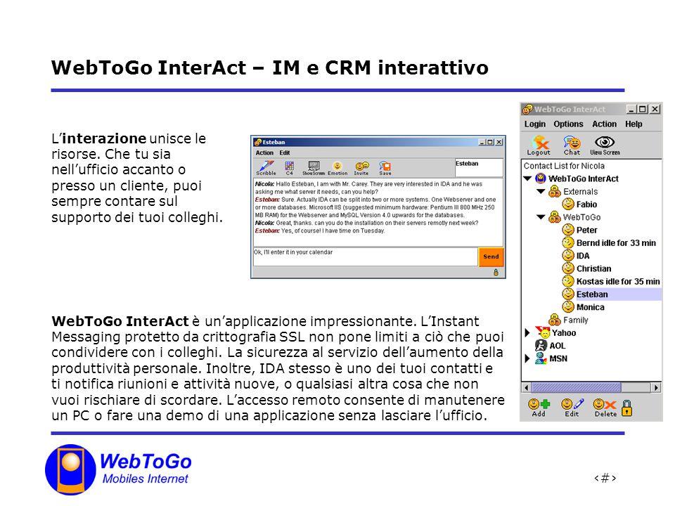 17 WebToGo InterAct – IM e CRM interattivo Linterazione unisce le risorse.
