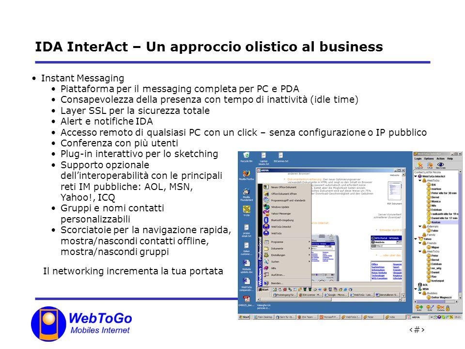 18 IDA InterAct – Un approccio olistico al business Instant Messaging Piattaforma per il messaging completa per PC e PDA Consapevolezza della presenza con tempo di inattività (idle time) Layer SSL per la sicurezza totale Alert e notifiche IDA Accesso remoto di qualsiasi PC con un click – senza configurazione o IP pubblico Conferenza con più utenti Plug-in interattivo per lo sketching Supporto opzionale dellinteroperabilità con le principali reti IM pubbliche: AOL, MSN, Yahoo!, ICQ Gruppi e nomi contatti personalizzabili Scorciatoie per la navigazione rapida, mostra/nascondi contatti offline, mostra/nascondi gruppi Il networking incrementa la tua portata