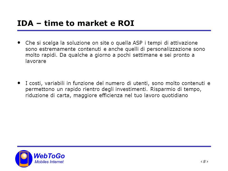 26 IDA – time to market e ROI Che si scelga la soluzione on site o quella ASP i tempi di attivazione sono estremamente contenuti e anche quelli di personalizzazione sono molto rapidi.