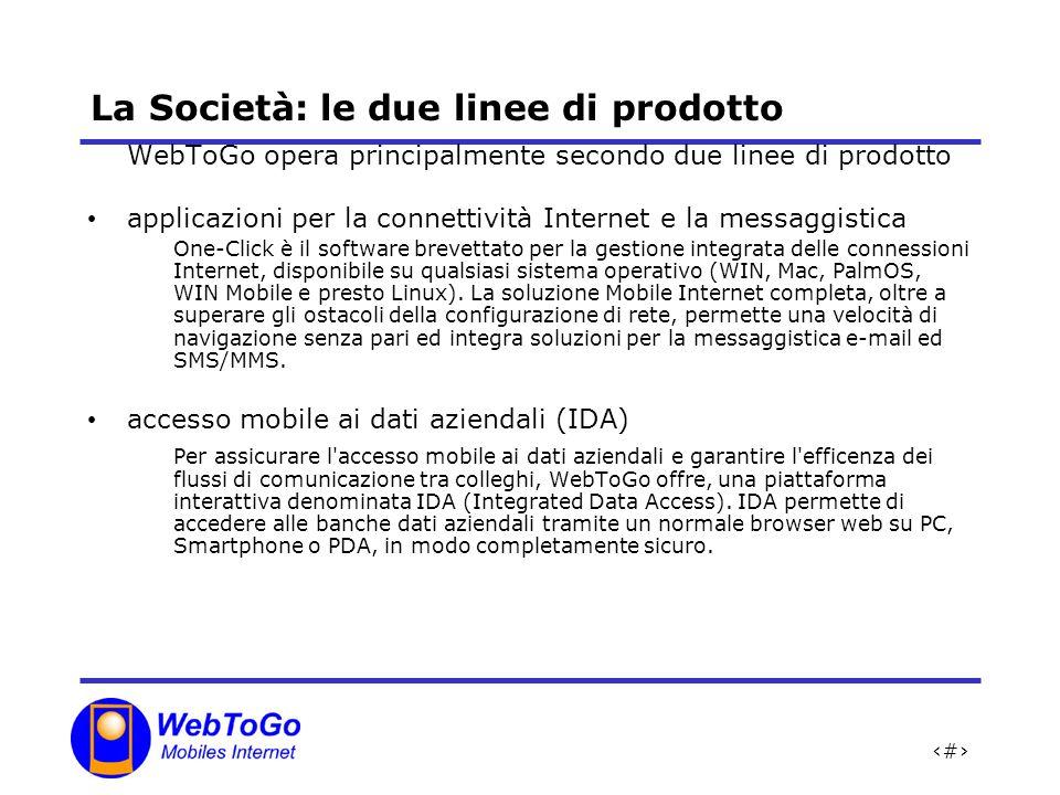 4 La Società: le due linee di prodotto WebToGo opera principalmente secondo due linee di prodotto applicazioni per la connettività Internet e la messaggistica One-Click è il software brevettato per la gestione integrata delle connessioni Internet, disponibile su qualsiasi sistema operativo (WIN, Mac, PalmOS, WIN Mobile e presto Linux).