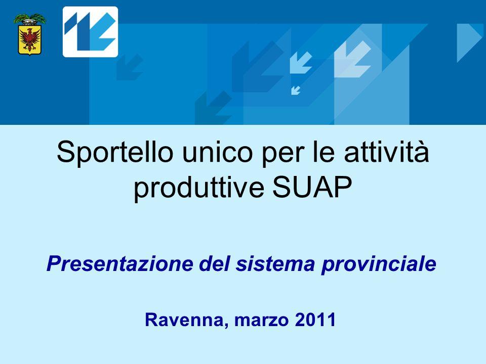 Sportello unico per le attività produttive SUAP Presentazione del sistema provinciale Ravenna, marzo 2011