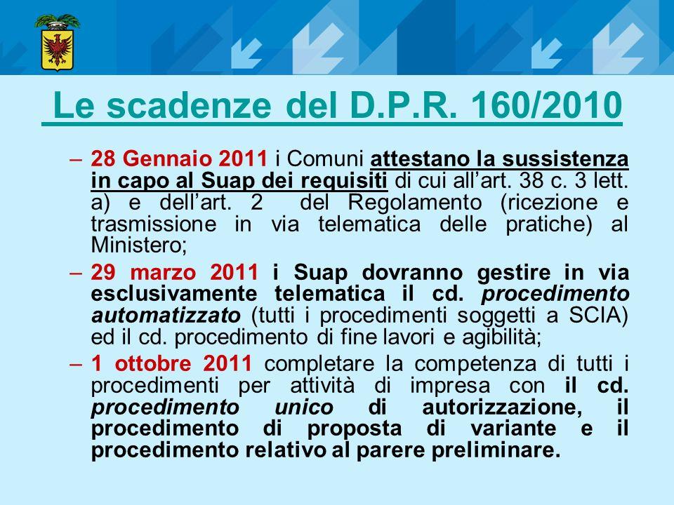 Le scadenze del D.P.R. 160/2010 –28 Gennaio 2011 i Comuni attestano la sussistenza in capo al Suap dei requisiti di cui allart. 38 c. 3 lett. a) e del