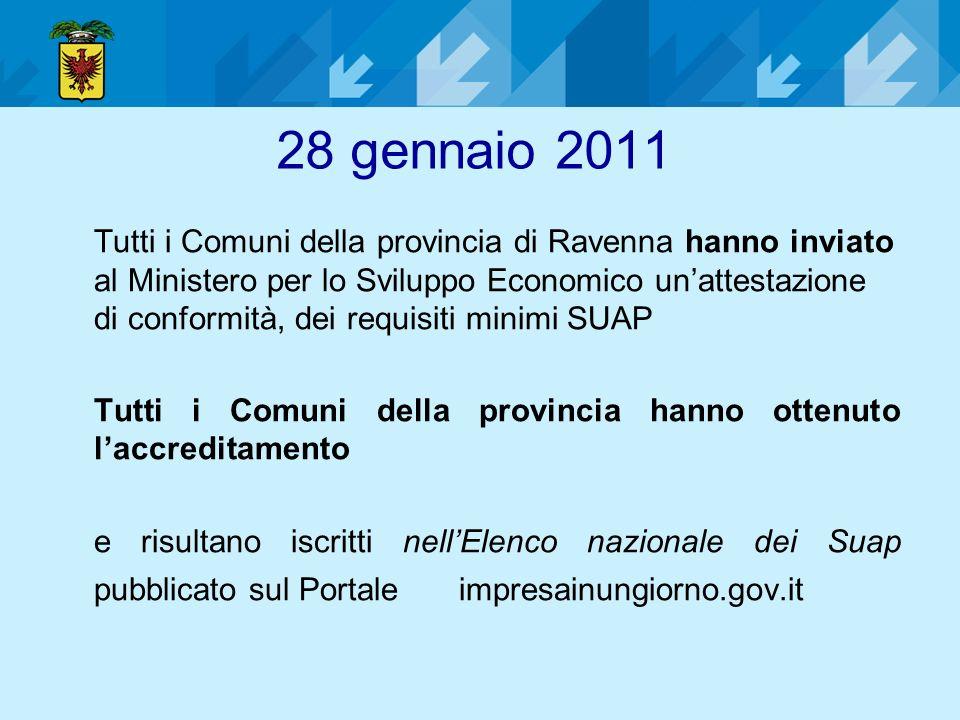 28 gennaio 2011 Tutti i Comuni della provincia di Ravenna hanno inviato al Ministero per lo Sviluppo Economico unattestazione di conformità, dei requi