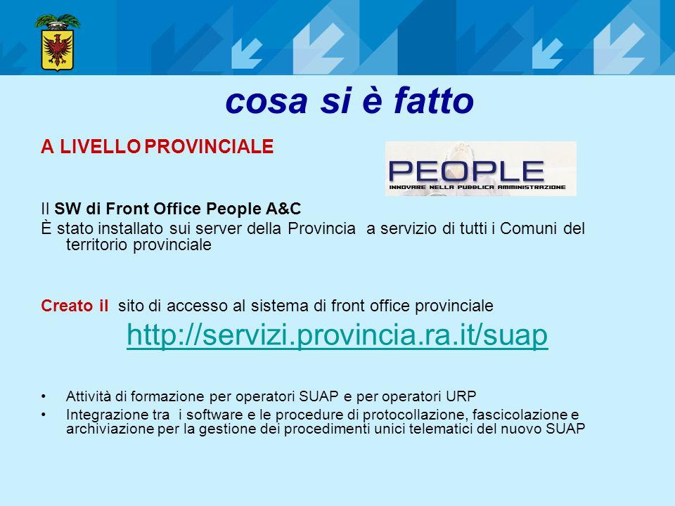 cosa si è fatto A LIVELLO PROVINCIALE Il SW di Front Office People A&C È stato installato sui server della Provincia a servizio di tutti i Comuni del