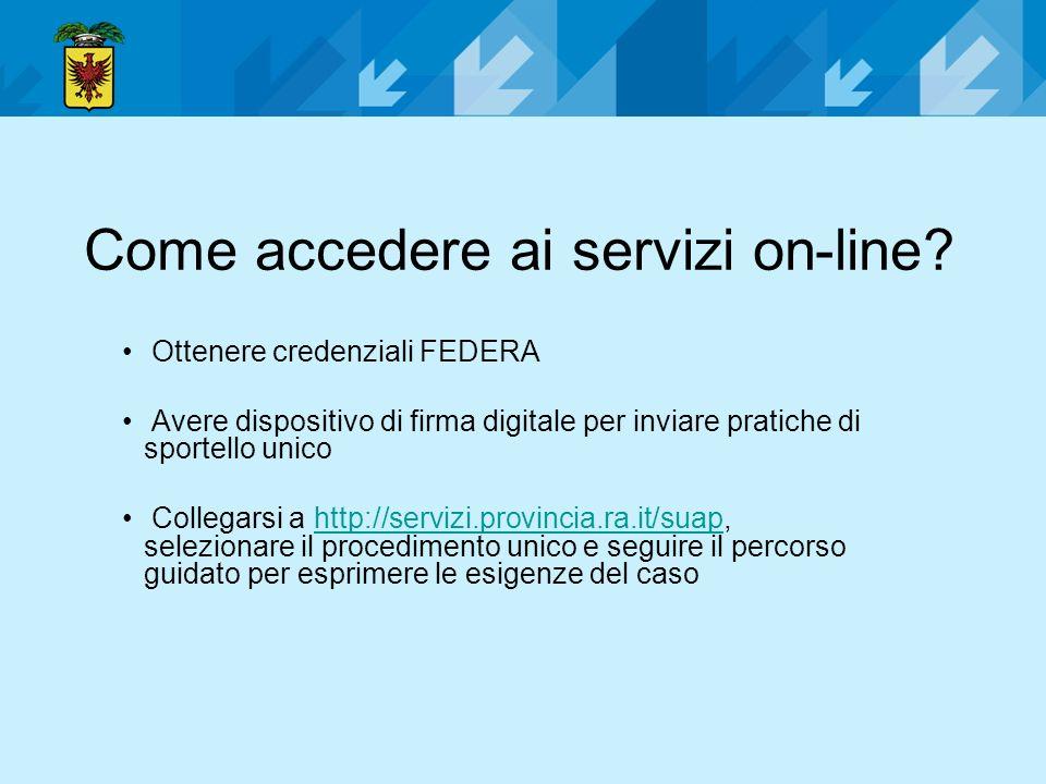 Come accedere ai servizi on-line? Ottenere credenziali FEDERA Avere dispositivo di firma digitale per inviare pratiche di sportello unico Collegarsi a
