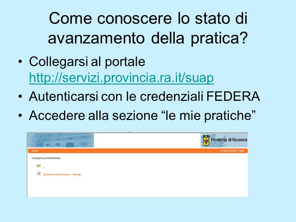 Come conoscere lo stato di avanzamento della pratica? Collegarsi al portale http://servizi.provincia.ra.it/suap http://servizi.provincia.ra.it/suap Au