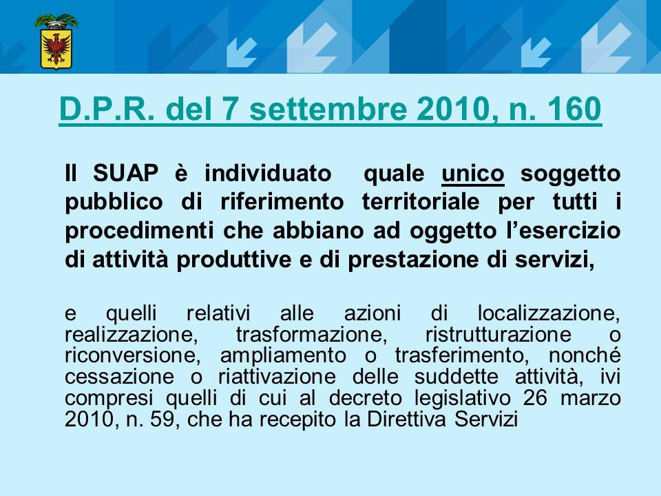 D.P.R. del 7 settembre 2010, n. 160 Il SUAP è individuato quale unico soggetto pubblico di riferimento territoriale per tutti i procedimenti che abbia