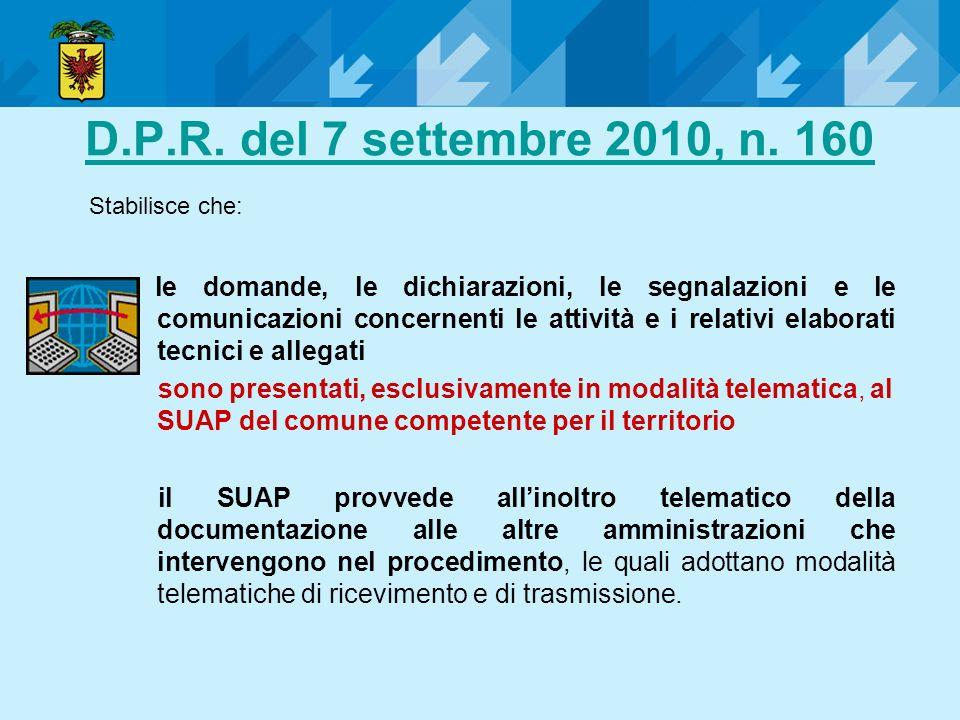 D.P.R. del 7 settembre 2010, n. 160 le domande, le dichiarazioni, le segnalazioni e le comunicazioni concernenti le attività e i relativi elaborati te