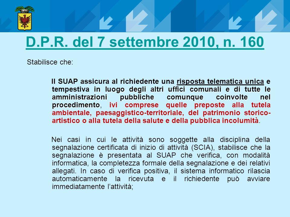 D.P.R. del 7 settembre 2010, n. 160 in luogo degli altri uffici comunalie di tutte le amministrazioni pubbliche comunque coinvolte nel procedimento Il
