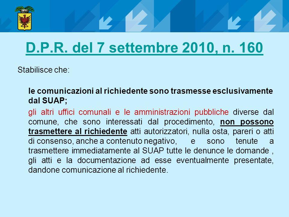 D.P.R. del 7 settembre 2010, n. 160 Stabilisce che: le comunicazioni al richiedente sono trasmesse esclusivamente dal SUAP; gli altri uffici comunali