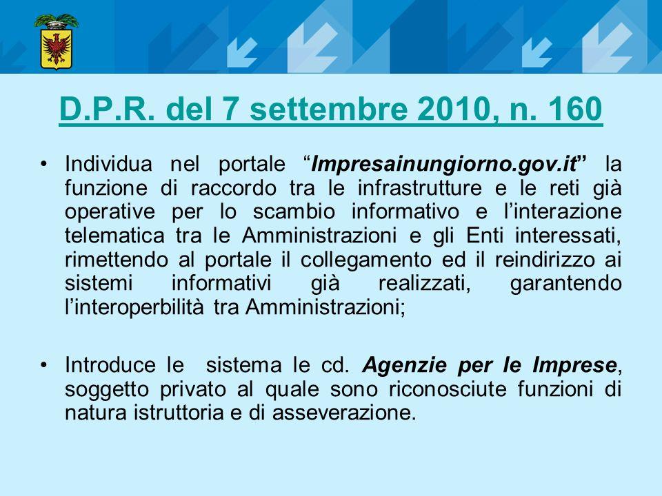 D.P.R. del 7 settembre 2010, n. 160 Individua nel portale Impresainungiorno.gov.it la funzione di raccordo tra le infrastrutture e le reti già operati