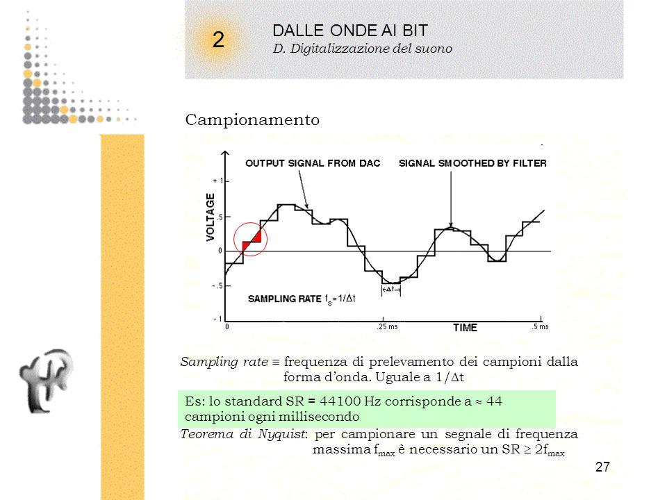 26 2 DALLE ONDE AI BIT C. Rappresentazione del suono Rappresentazioni discrete (digitali) DecimaleBinarioNumero di bit 000000 100011 200102 300112 401