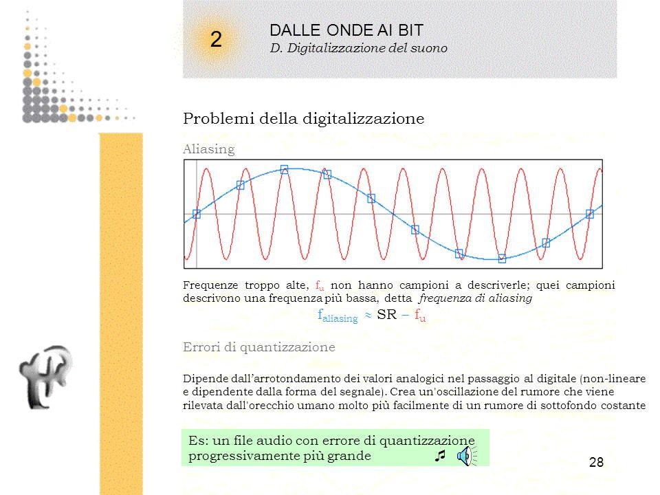 27 2 DALLE ONDE AI BIT D. Digitalizzazione del suono Campionamento Sampling rate frequenza di prelevamento dei campioni dalla forma donda. Uguale a 1/