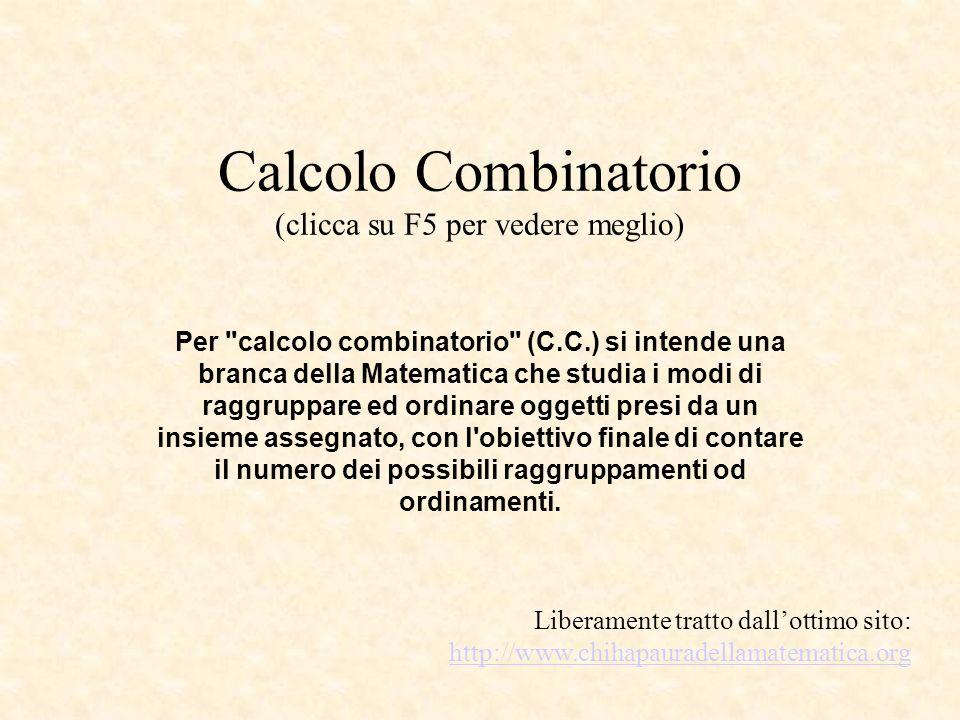 Calcolo Combinatorio (clicca su F5 per vedere meglio) Per