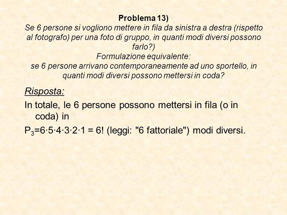 Problema 13) Se 6 persone si vogliono mettere in fila da sinistra a destra (rispetto al fotografo) per una foto di gruppo, in quanti modi diversi poss
