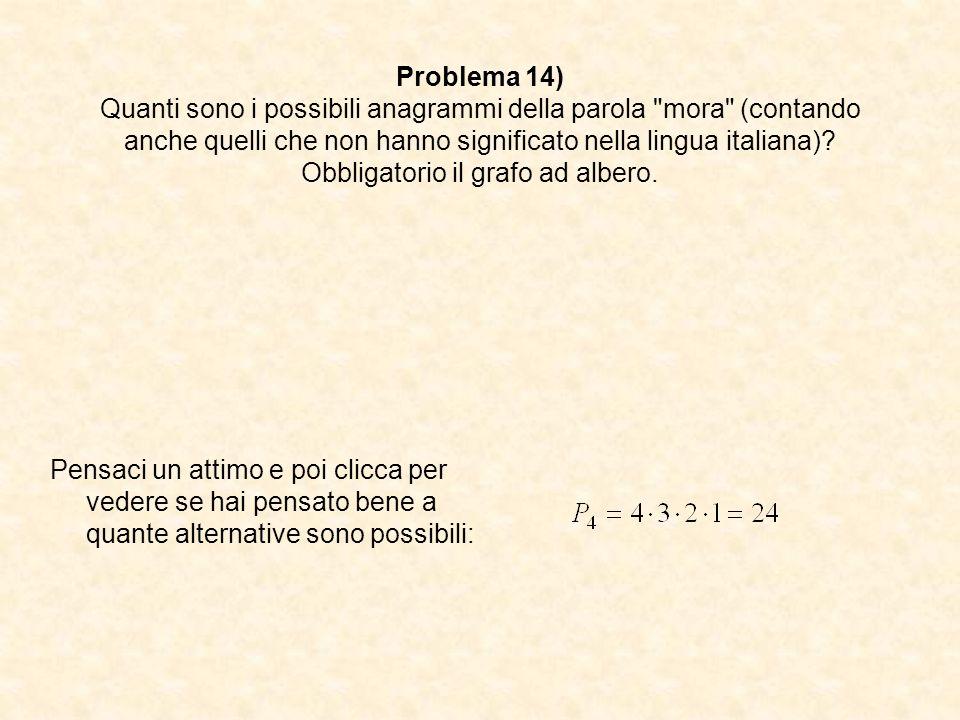 Problema 14) Quanti sono i possibili anagrammi della parola