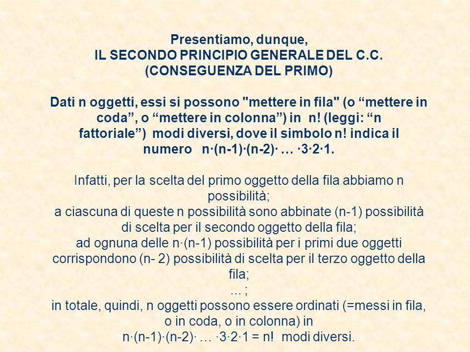 Presentiamo, dunque, IL SECONDO PRINCIPIO GENERALE DEL C.C. (CONSEGUENZA DEL PRIMO) Dati n oggetti, essi si possono