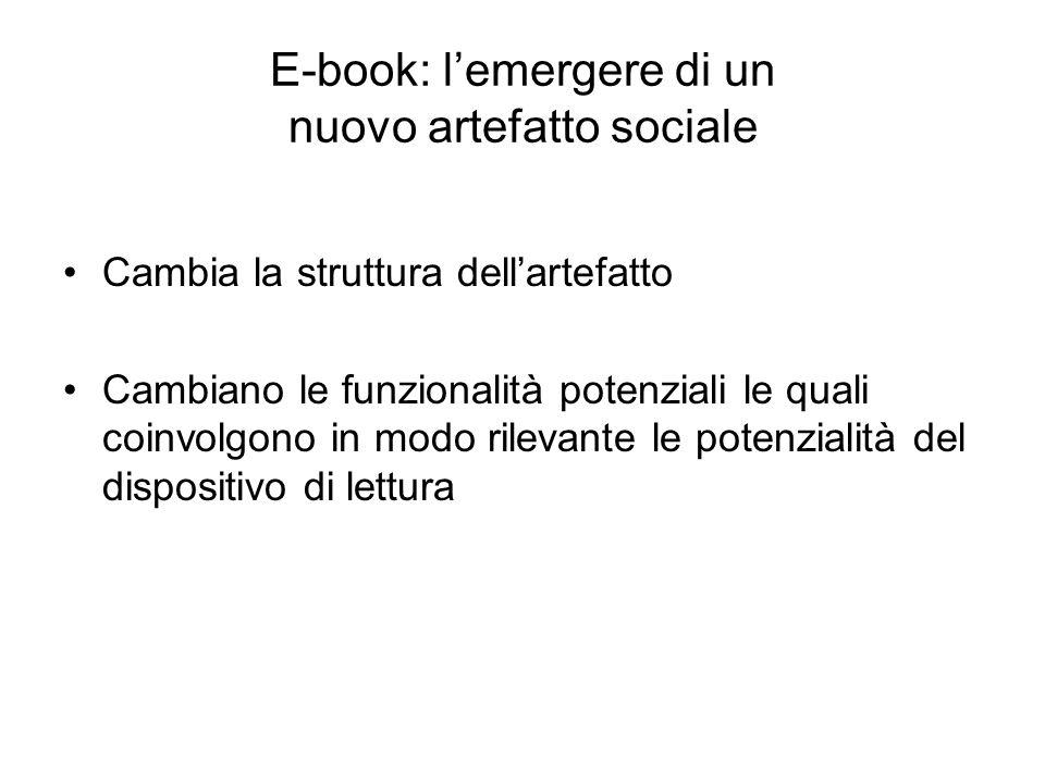 E-book: lemergere di un nuovo artefatto sociale Cambia la struttura dellartefatto Cambiano le funzionalità potenziali le quali coinvolgono in modo ril