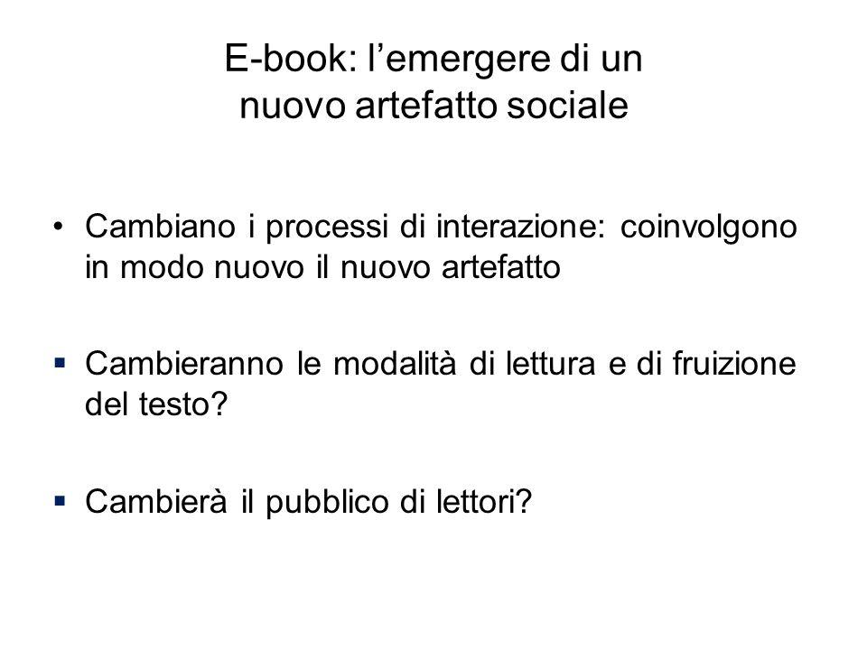 E-book: lemergere di un nuovo artefatto sociale Cambiano i processi di interazione: coinvolgono in modo nuovo il nuovo artefatto Cambieranno le modali