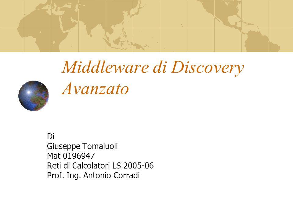 Middleware di Discovery Avanzato Di Giuseppe Tomaiuoli Mat 0196947 Reti di Calcolatori LS 2005-06 Prof.