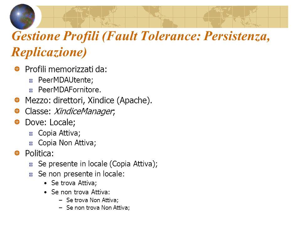 Gestione Profili (Fault Tolerance: Persistenza, Replicazione) Profili memorizzati da: PeerMDAUtente; PeerMDAFornitore.