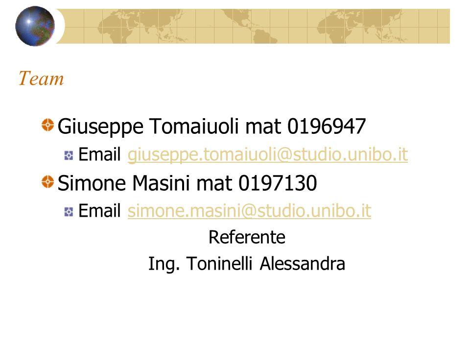 Team Giuseppe Tomaiuoli mat 0196947 Email giuseppe.tomaiuoli@studio.unibo.itgiuseppe.tomaiuoli@studio.unibo.it Simone Masini mat 0197130 Email simone.masini@studio.unibo.itsimone.masini@studio.unibo.it Referente Ing.