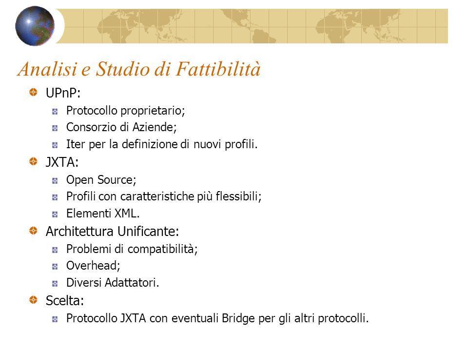 Analisi e Studio di Fattibilità UPnP: Protocollo proprietario; Consorzio di Aziende; Iter per la definizione di nuovi profili.