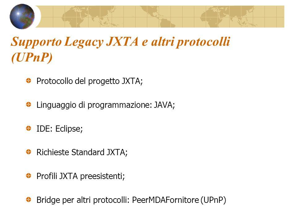 Supporto Legacy JXTA e altri protocolli (UPnP) Protocollo del progetto JXTA; Linguaggio di programmazione: JAVA; IDE: Eclipse; Richieste Standard JXTA; Profili JXTA preesistenti; Bridge per altri protocolli: PeerMDAFornitore (UPnP)