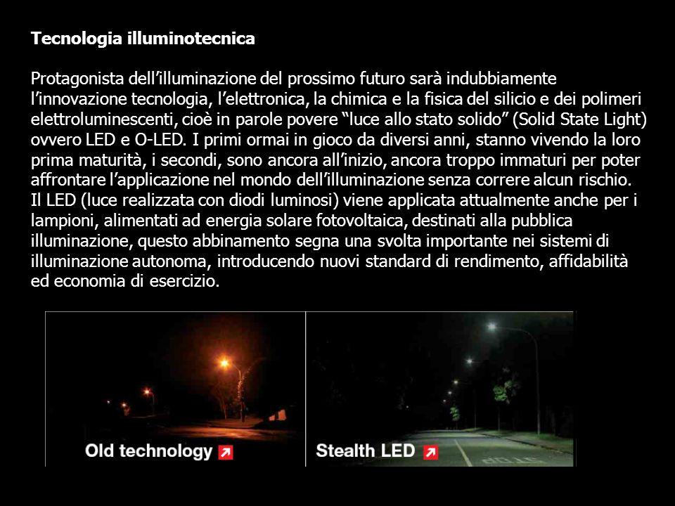 Tecnologia illuminotecnica Protagonista dellilluminazione del prossimo futuro sarà indubbiamente linnovazione tecnologia, lelettronica, la chimica e l