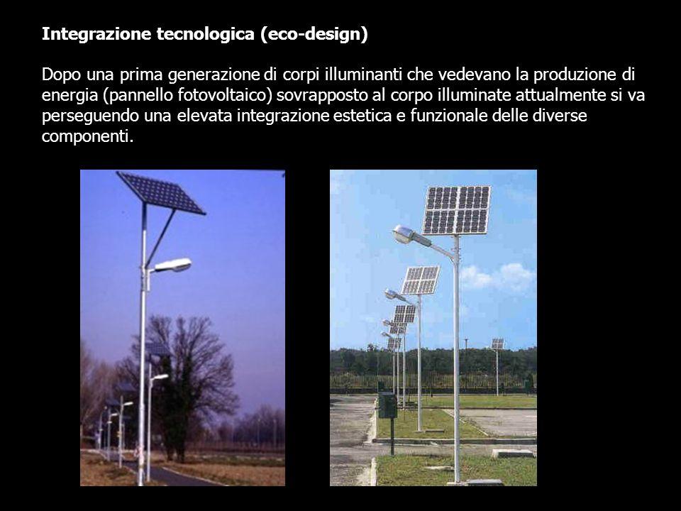 Integrazione tecnologica (eco-design) Dopo una prima generazione di corpi illuminanti che vedevano la produzione di energia (pannello fotovoltaico) so