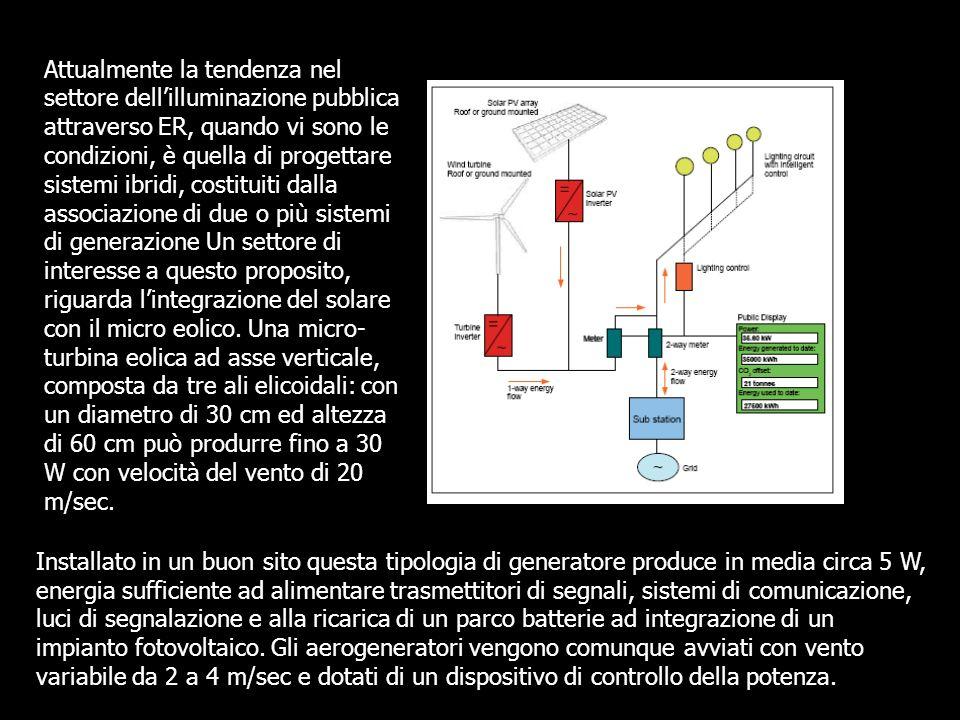 Attualmente la tendenza nel settore dellilluminazione pubblica attraverso ER, quando vi sono le condizioni, è quella di progettare sistemi ibridi, cos