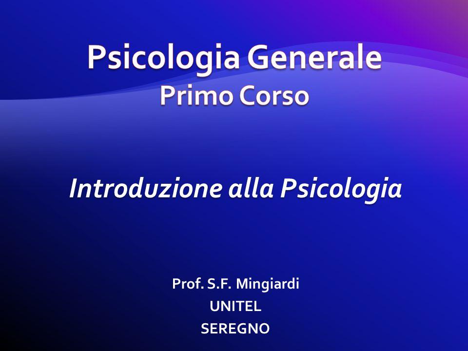 Prof. S.F. Mingiardi UNITEL SEREGNO Introduzione alla Psicologia