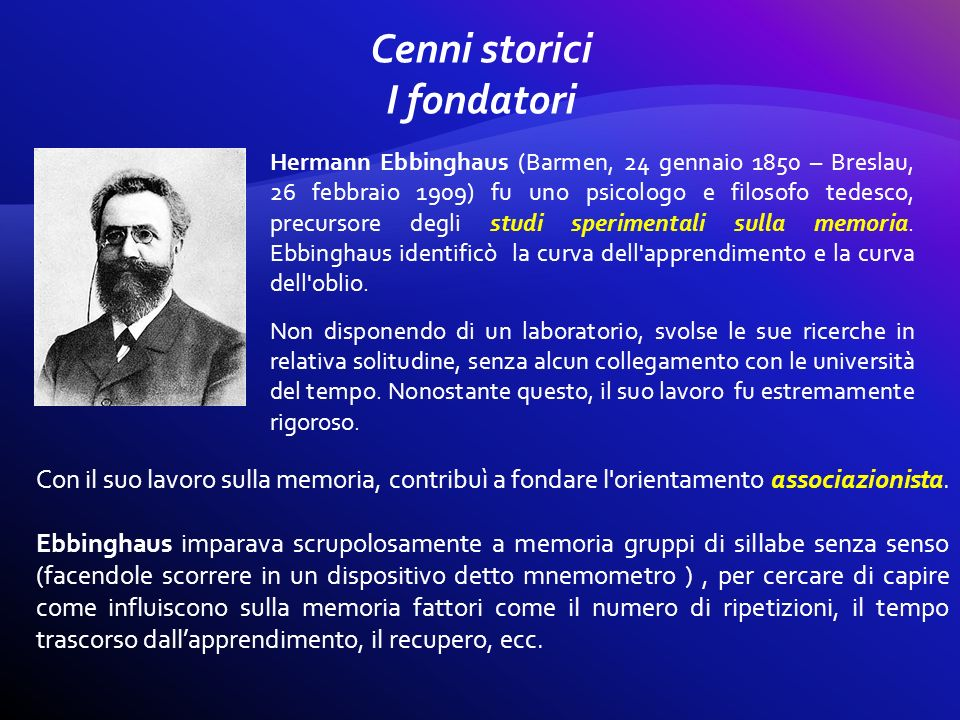 Hermann Ebbinghaus (Barmen, 24 gennaio 1850 – Breslau, 26 febbraio 1909) fu uno psicologo e filosofo tedesco, precursore degli studi sperimentali sull
