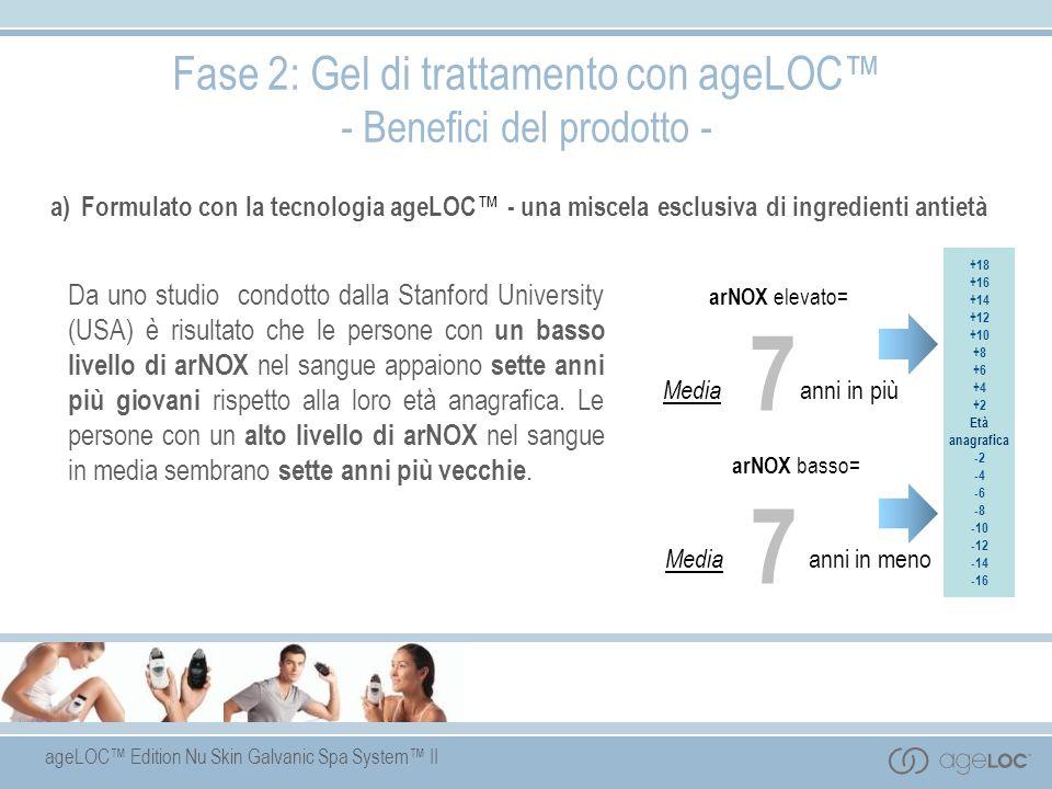 ageLOC Edition Nu Skin Galvanic Spa System II a) Formulato con la tecnologia ageLOC - una miscela esclusiva di ingredienti antietà Fase 2: Gel di trat