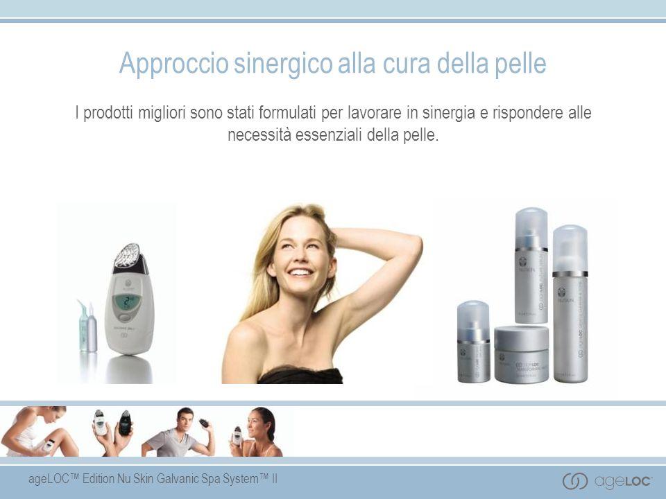 ageLOC Edition Nu Skin Galvanic Spa System II Benefici del prodotto Formulato con la tecnologia ageLOC - una miscela esclusiva di ingredienti antietà, il cui brevetto è in corso di registrazione.