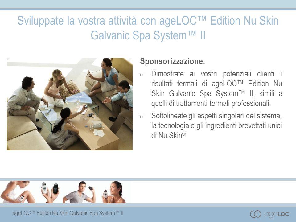 ageLOC Edition Nu Skin Galvanic Spa System II Sponsorizzazione: Dimostrate ai vostri potenziali clienti i risultati termali di ageLOC Edition Nu Skin