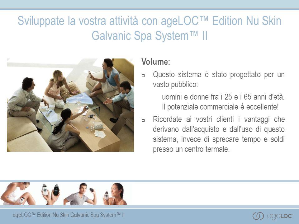 ageLOC Edition Nu Skin Galvanic Spa System II Volume: Questo sistema è stato progettato per un vasto pubblico: uomini e donne fra i 25 e i 65 anni d'e