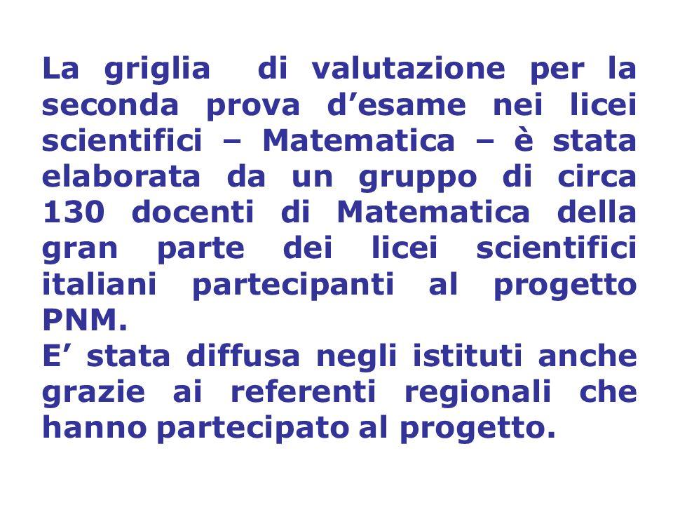 La griglia di valutazione per la seconda prova desame nei licei scientifici – Matematica – è stata elaborata da un gruppo di circa 130 docenti di Matematica della gran parte dei licei scientifici italiani partecipanti al progetto PNM.
