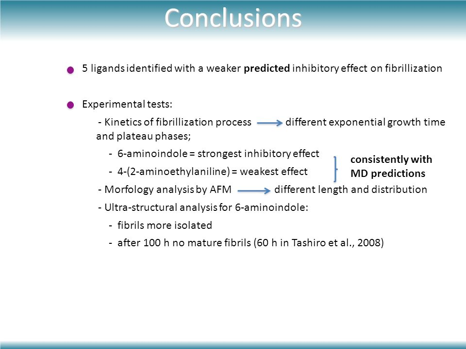 5 ligands identified with a weaker predicted inhibitory effect on fibrillization Experimental tests: - Kinetics of fibrillization process different exponential growth time and plateau phases; - 6-aminoindole = strongest inhibitory effect - 4-(2-aminoethylaniline) = weakest effect - Morfology analysis by AFM different length and distribution - Ultra-structural analysis for 6-aminoindole: - fibrils more isolated - after 100 h no mature fibrils (60 h in Tashiro et al., 2008) consistently with MD predictions Conclusions