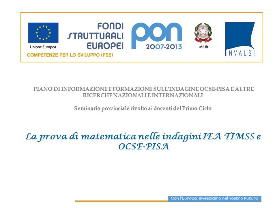 Indagini internazionali OCSE-PISA (2000, 2003, 2006, 2009) IEA-TIMSS (2003; 2007) Indagini nazionali INVALSI SNV (II e V classe della Scuola Primaria, I classe Scuola Sec.