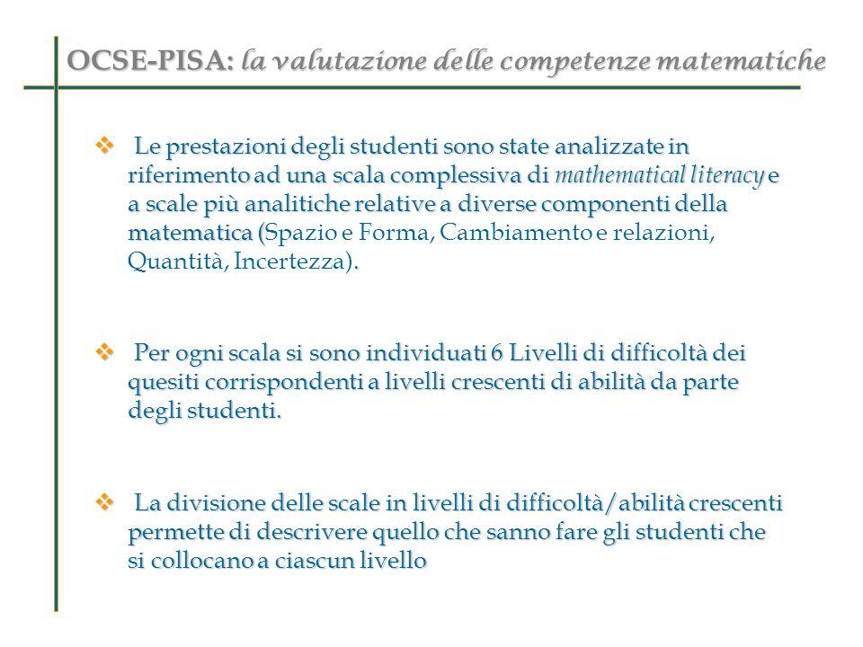 OCSE-PISA: la valutazione delle competenze matematiche Le prestazioni degli studenti sono state analizzate in riferimento ad una scala complessiva di