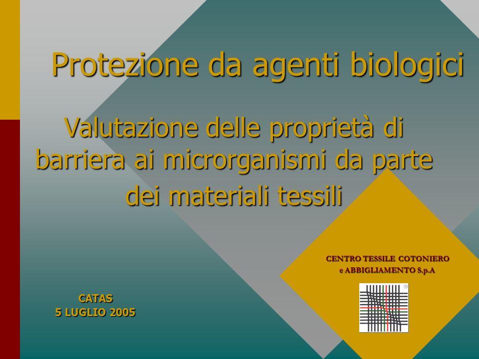 Protezione da agenti biologici CENTRO TESSILE COTONIERO e ABBIGLIAMENTO S.p.A Valutazione delle proprietà di barriera ai microrganismi da parte dei ma